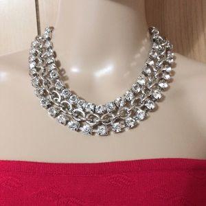 Rhinestone chain necklace - silver - bebe